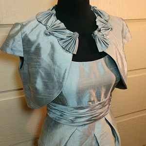 EUC David's Bridal 2 pc silver dress and jacket